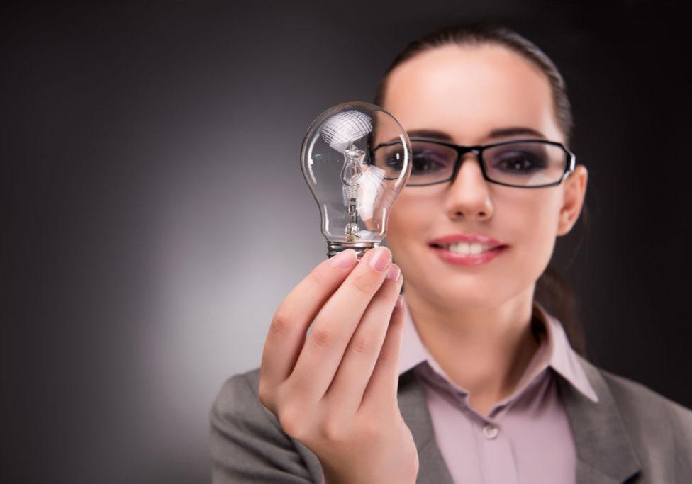63793303 - bright idea concept with woman businesswoman